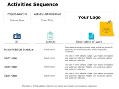 Activities Sequence Ppt PowerPoint Presentation Summary Information