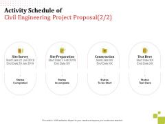Activity Schedule Of Civil Engineering Project Proposal Site Ppt Model Slide Portrait