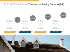 Activity Schedule Of Commercial Roofing Services Process Ppt PowerPoint Presentation Model Icon