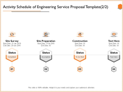 Activity Schedule Of Engineering Service Proposal Template Site Demonstration PDF