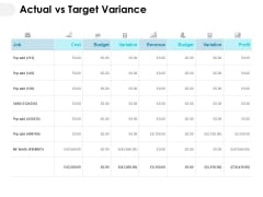 Actual Vs Target Variance Ppt PowerPoint Presentation Summary Clipart Images