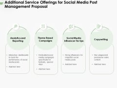 Additional Service Offerings For Social Media Post Management Proposal Ppt PowerPoint Presentation Ideas Gallery PDF