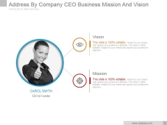 Address By Company Ceo Business Mission And Vision Ppt PowerPoint Presentation Layout