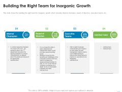 Addressing Inorganic Growth For Business Expansion Building The Right Team For Inorganic Growth Template PDF