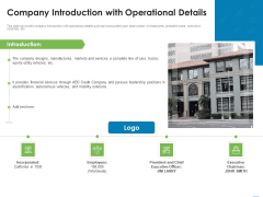 Addressing Inorganic Growth For Business Expansion Company Introduction With Operational Details Formats PDF