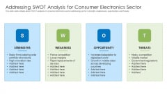 Addressing SWOT Analysis For Consumer Electronics Sector Brochure PDF