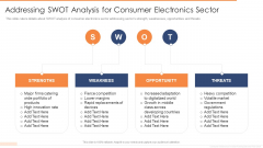 Addressing SWOT Analysis For Consumer Electronics Sector Ppt Infographic Template Picture PDF