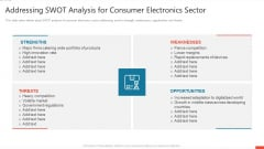 Addressing Swot Analysis For Consumer Electronics Sector Clipart PDF