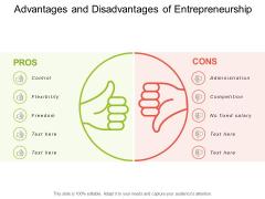 Advantages And Disadvantages Of Entrepreneurship Ppt PowerPoint Presentation Pictures Design Templates