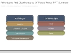 Advantages And Disadvantages Of Mutual Funds Ppt Summary