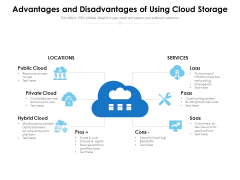 Advantages And Disadvantages Of Using Cloud Storage Ppt PowerPoint Presentation Pictures Guide PDF