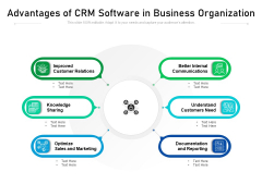 Advantages Of CRM Software In Business Organization Ppt PowerPoint Presentation Icon Inspiration PDF