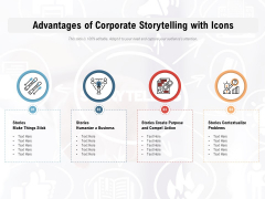 Advantages Of Corporate Storytelling With Icons Ppt PowerPoint Presentation File Brochure