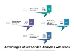 Advantages Of Self Service Analytics With Icons Ppt PowerPoint Presentation File Background Designs PDF