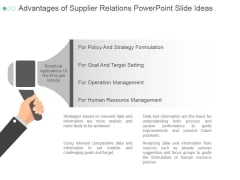 Advantages Of Supplier Relations Ppt PowerPoint Presentation Professional
