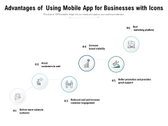 Advantages Of Using Mobile App For Businesses With Icons Ppt PowerPoint Presentation Outline Templates