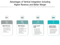 Advantages Of Vertical Integration Including Higher Revenue And Better Margin Ppt PowerPoint Presentation Gallery Design Ideas PDF