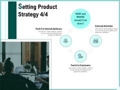 Advertisement Administration Setting Product Strategy Customers Ppt PowerPoint Presentation Portfolio Summary PDF