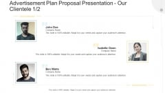 Advertisement Plan Proposal Presentation Our Clientele Company Ppt Infographics Backgrounds PDF