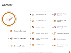 Advertising Existing Products And Services In The Target Market Content Ppt Icon Template PDF