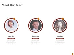 Advertising Existing Products And Services In The Target Market Meet Our Team Ppt Ideas Show PDF