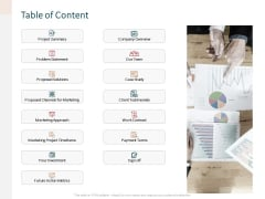 Advertising Proposal Table Of Content Ppt Gallery Display PDF
