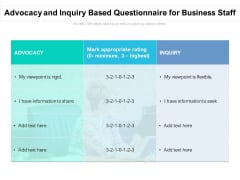 Advocacy And Inquiry Based Questionnaire For Business Staff Ppt PowerPoint Presentation Styles Vector PDF