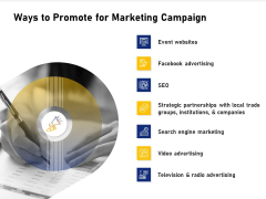 Advocacy And Marketing Campaign Request Ways To Promote For Marketing Campaign Background PDF