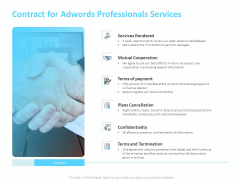 Adwords PPC Contract For Adwords Professionals Services Ppt Pictures Layout Ideas PDF