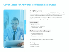 Adwords PPC Cover Letter For Adwords Professionals Services Ppt File Graphics Template PDF