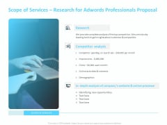 Adwords PPC Scope Of Services Research For Adwords Professionals Proposal Portrait PDF
