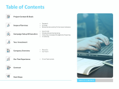 Adwords PPC Table Of Contents Ppt Summary Picture PDF