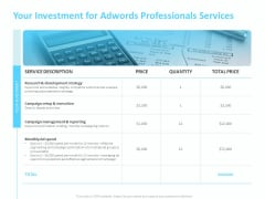 Adwords PPC Your Investment For Adwords Professionals Services Ppt Slides Backgrounds PDF