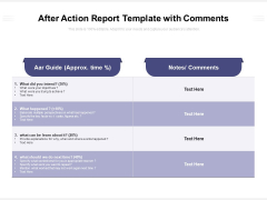 After Action Report Template With Comments Ppt PowerPoint Presentation File Deck PDF