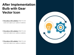 After Implementation Bulb With Gear Vector Icon Ppt PowerPoint Presentation Gallery Tips PDF