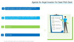 Agenda For Angel Investor For Seed Pitch Deck Ppt Styles Professional PDF