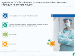 Agenda For COVID 19 Business Survive Adapt And Post Recovery Strategy In Healthcare Industry Diagrams PDF