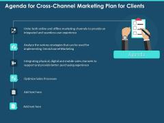 Agenda For Cross Channel Marketing Plan For Clients Ppt Portfolio Slide Portrait PDF