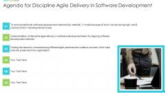 Agenda For Discipline Agile Delivery In Software Development Ppt Icon Design Templates PDF