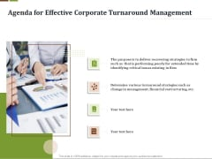 Agenda For Effective Corporate Turnaround Management Ppt Styles Examples PDF