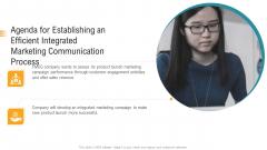 Agenda For Establishing An Efficient Integrated Marketing Communication Process Ppt Slides Icons PDF