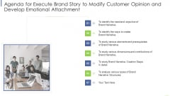 Agenda For Execute Brand Story To Modify Customer Opinion And Develop Emotional Attachment Diagrams PDF