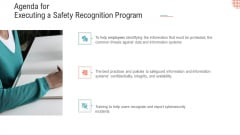 Agenda For Executing A Safety Recognition Program Slides PDF