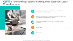Agenda For Planning Logistic Technique For Superior Supply Chain Execution Background PDF