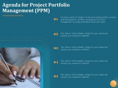 Agenda For Project Portfolio Management PPM Ppt Summary Outfit PDF