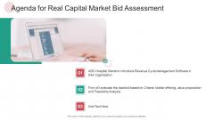 Agenda For Real Capital Market Bid Assessment Ppt PowerPoint Presentation Infographics Skills PDF