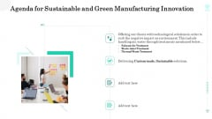 Agenda For Sustainable And Green Manufacturing Innovation Guidelines PDF