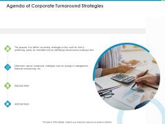 Agenda Of Corporate Turnaround Strategies Ppt Gallery Graphics PDF