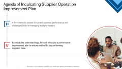 Agenda Of Inculcating Supplier Operation Improvement Plan Guidelines PDF