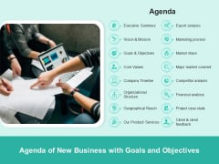 Agenda Of New Business With Goals And Objectives Ppt PowerPoint Presentation File Backgrounds PDF